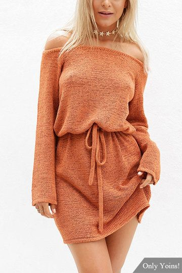 Pre-Order!!!Orange Sexy Off Shoulder Self-tie Design Dress - US$13.99 -YOINS
