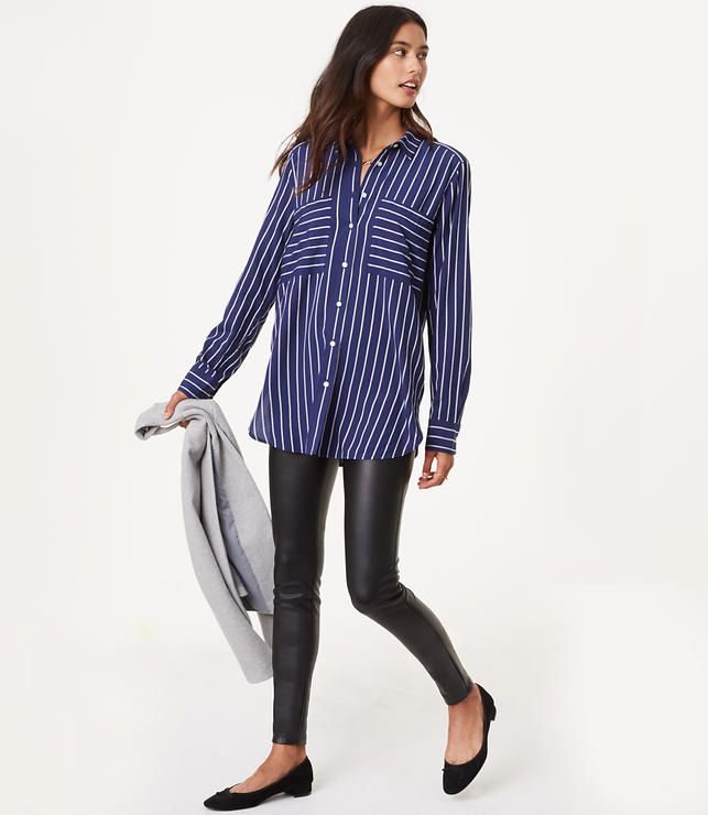 Primary Image of Petite Leggings in Faux Leather Bi-Stretch