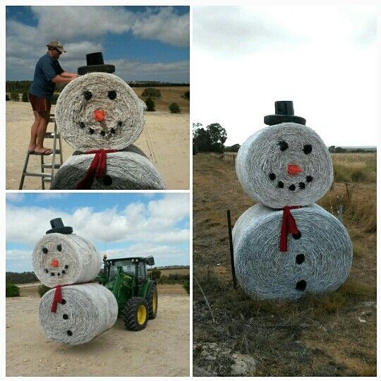 Hay bale snowman                                                                                                                                                                                 More