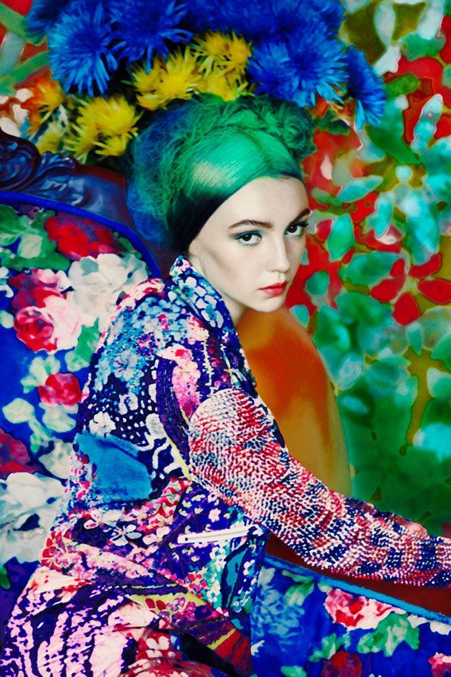 Erik Madigan HeckMarykatrantzou, Mary Katrantzou, Flower Power, Madigan Heck, Green Hair, By Erik Madigan, Fashion Photography, Floral, Colors Fashion