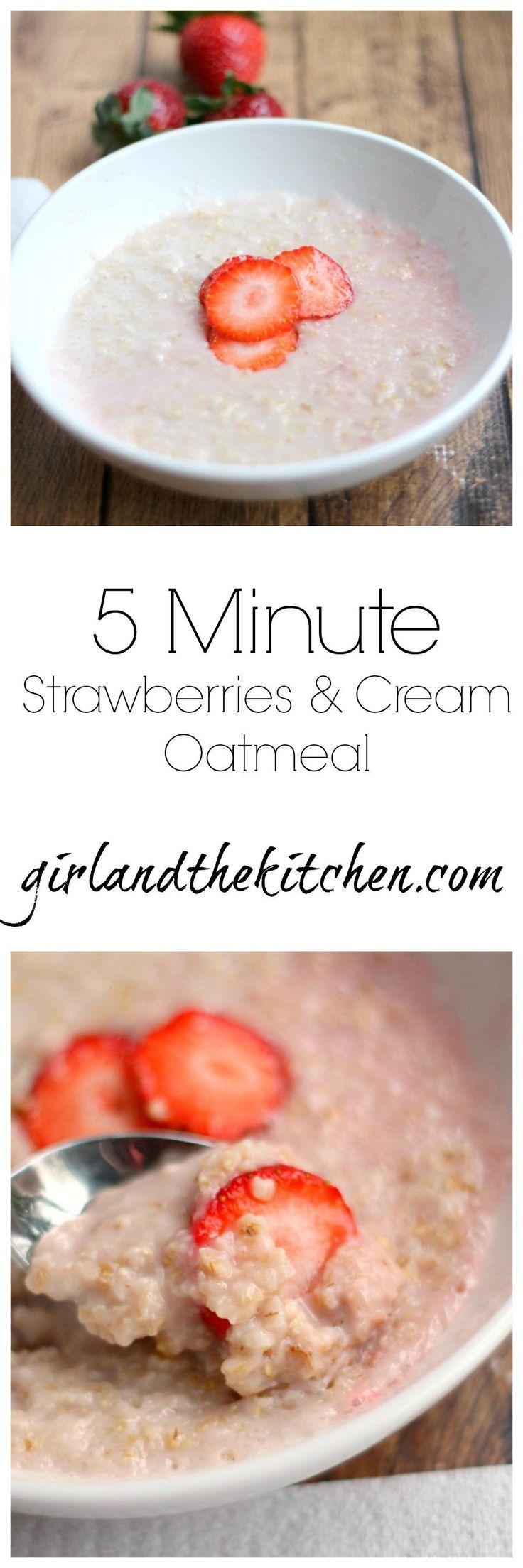 Strawberry and Cream Oatmeal. girlandthekitchen.com