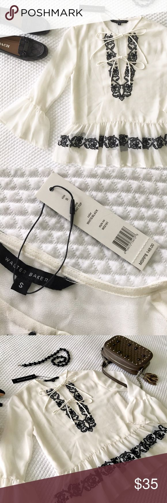 NWT Walter Baker Nat Blouse Beautiful, new white blouse with black embroidery from Walter Baker.  Size Small. Orig. price $148. I've uploaded photos of blouse on a model, but that's in a black color.  Please note tiny hole from where inventory control tag used to be, shown in photo of the closeup price tag.  [Shoes and Purse also for sale] Walter Baker Tops