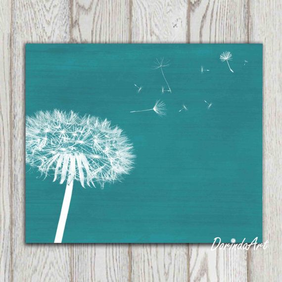 Dandelion Print Teal Home Decor Teal Bedroom Decor Large Teal Wall Art Printable Dandelion Poster Abstract Modern Art Flower Canvas Download