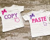 Copy/Paste Twin Girls Shirt Set with Bows