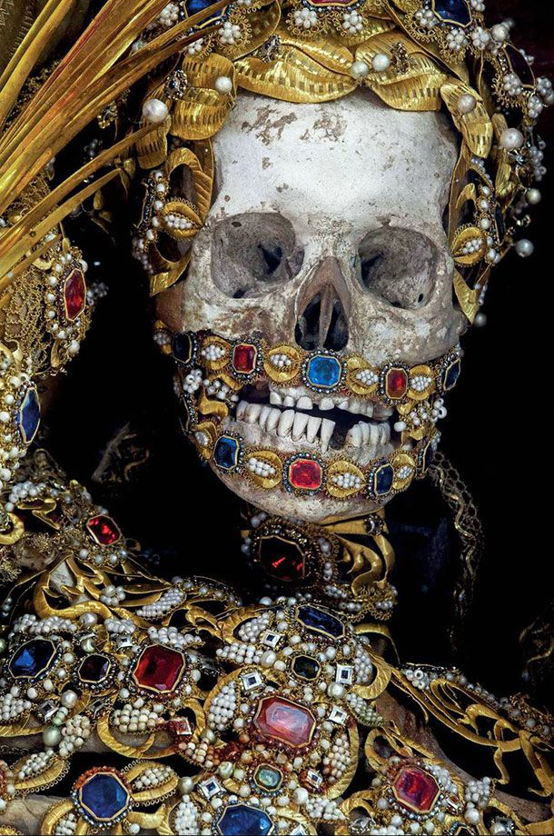 One among the skeletons unearthed from the catacombs of Rome - all dressed up and nowhere to go.
