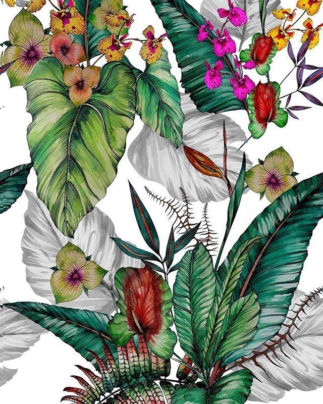 regram @willartes free hand em aquarela #exclusive #flowers #summer #moda #botanic #textiles #designersuperficie #surfacespatterns #floral