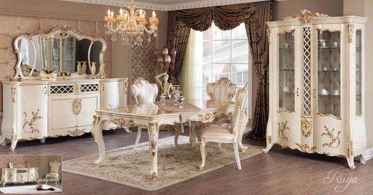 Venice Lüks Klasik Yemek Odası Takımı.  #YemekOdası #DiningRoom #Decoration #Ev #Dekorasyon #Moda #Mobilya #Furniture