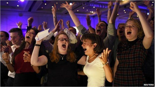 No supporters celebrate the Scottish referendum.