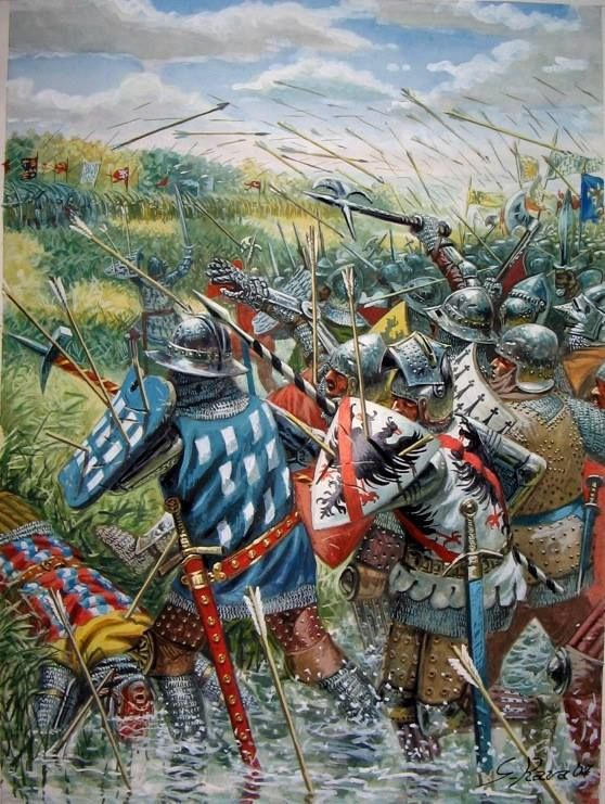 The Battle of Auray took place on 29 September 1364 at the French town of Auray. This battle was the decisive confrontation of the Breton War of Succession, a part of the Hundred Years' War.  In the battle, which began as a siege, an Anglo-Breton army, led by Duke John de Montfort and assisted by English forces commanded by Sir John Chandos, opposed a Franco-Breton army led by his archrival Charles of Blois.