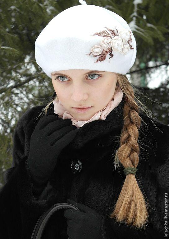 """Купить Берет """"Молочная россыпь"""" - цветочный, берет, шапка, шляпа, головной убор, аксессуар, одежда"""