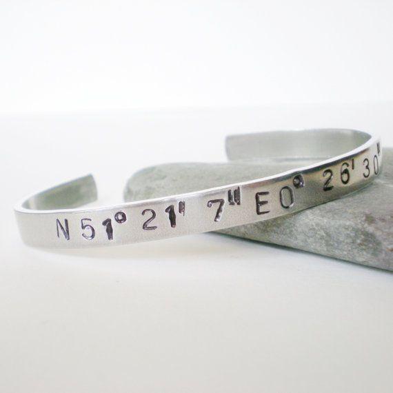 latitude longitude cuff, hand stamped aluminum cuff, personalised bracelet, customised cuff