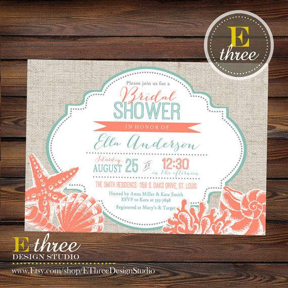 Printable Beach Bridal Shower Invitation   Coral And Teal Seashell Wedding  Shower Invite   Nautical Destination Wedding