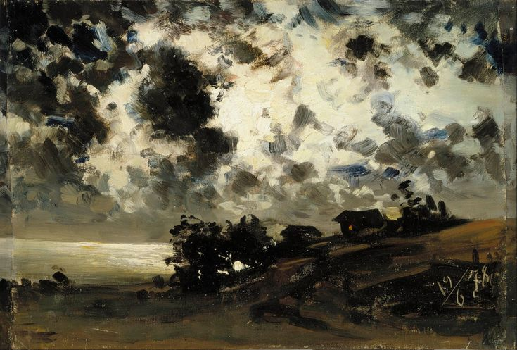 Fanny Churberg, Moonlight, study (1878), oil on canvas glued to cardboard, 37.5 x 55.5 cm, Ateneum, Helsinki