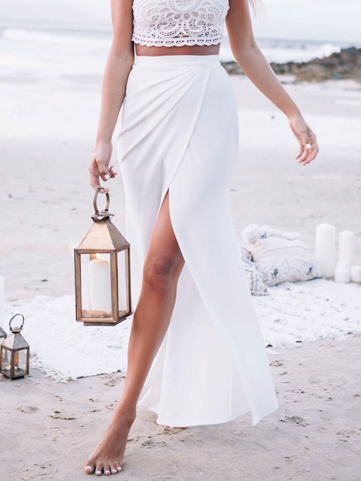 White High Waist Slit Wrap Maxi Skirt | Choies