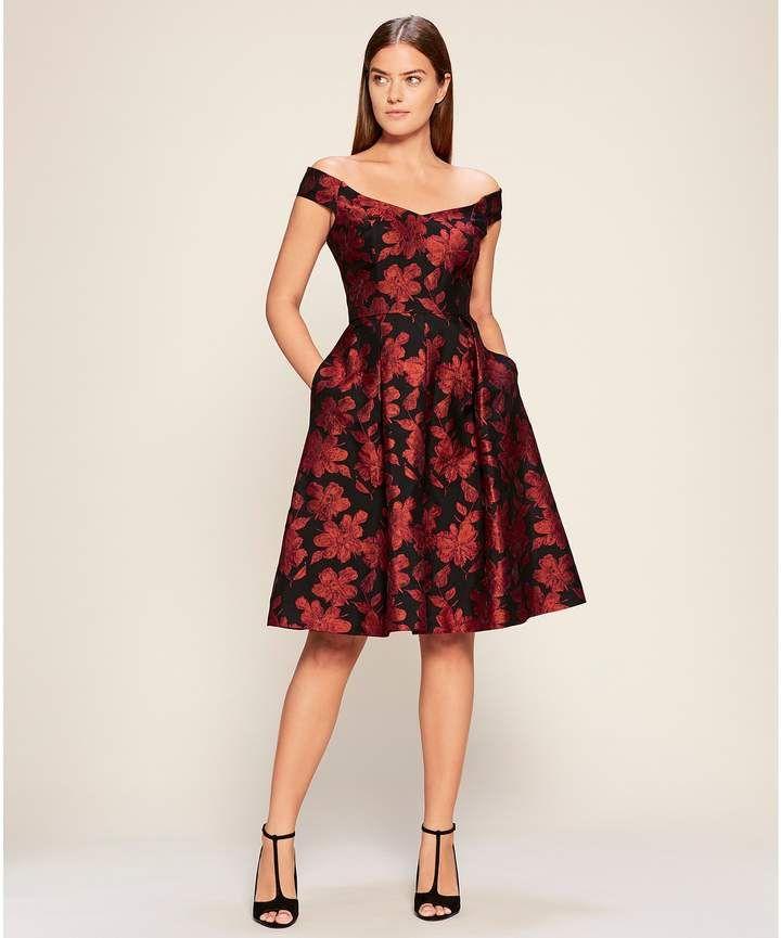 8e53b2c851 Calvin Klein Off-the-Shoulder Floral Woven Jacquard Fit & Flare Dress  #Shoulder#Floral#Calvin