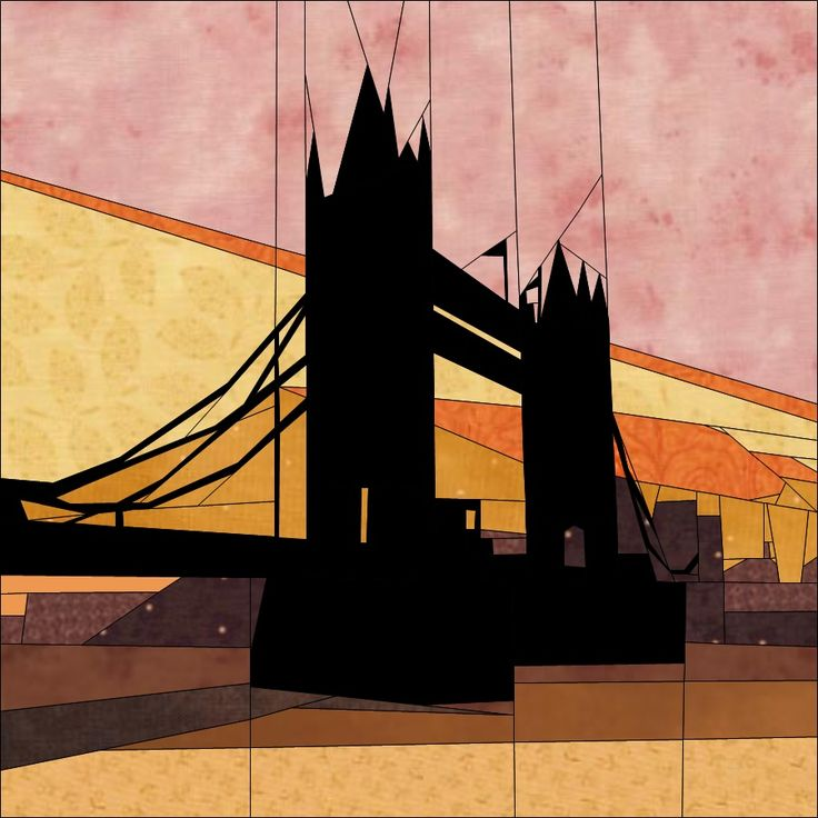 Block of the Month Jan '16 Tower Bridge - Paper piecing quiltartdesigns.blogspot.com