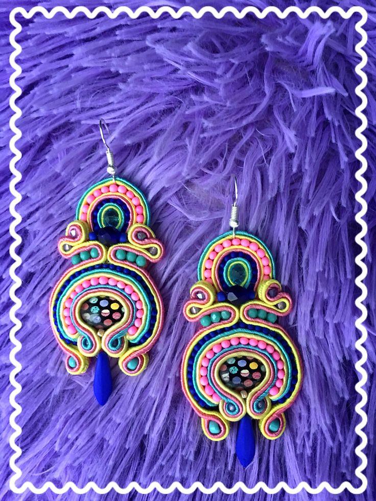 Soutache earrings rękodzieło yellow , navy blue, turquoise &  pink