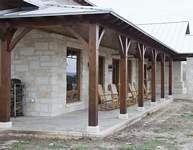 Timber Frame Home Exterior Porch Hybrid Hill Country6