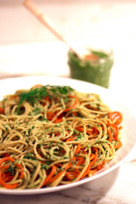 ... Spaghetti with Roasted Carrots, Cilantro Dill Pesto #glutenfreevegan
