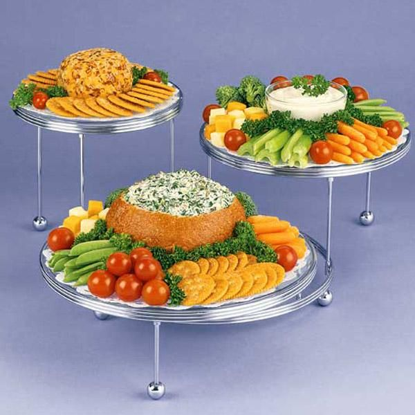 Appetizing Display Appetizers - Use the Cakes �N More 3-Tiered Party Stand to create an Appetizing Display at your next party. These stands are perfect for displaying crudit�s and cheese and crackers.