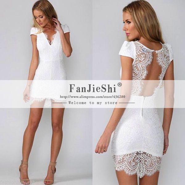 White Lace Open Back Dress