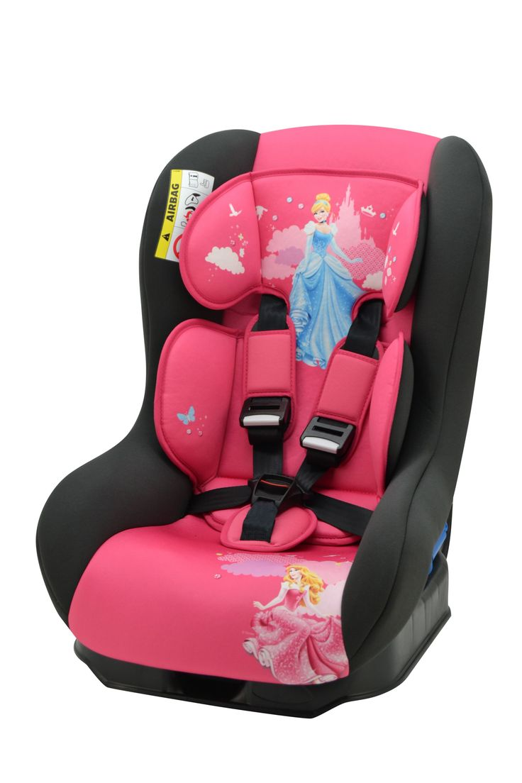 Suitable from birth to the disney princess driver car seat has a removable body support cushion for younger children and individual harness tensionners for