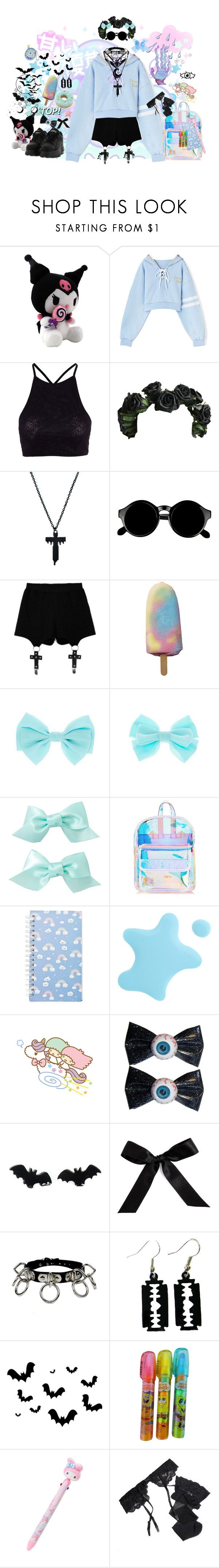 """""""Sky Blue hellhound"""" by secrethunny ❤ liked on Polyvore featuring Y.A.S, Retrò, Chicnova Fashion, John Lewis, Skinnydip, Forever 21, Kreepsville 666, Bocage, Reger by Janet Reger and claire's"""