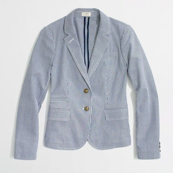 Factory tailored boy blazer in seersucker ($125) via Polyvore
