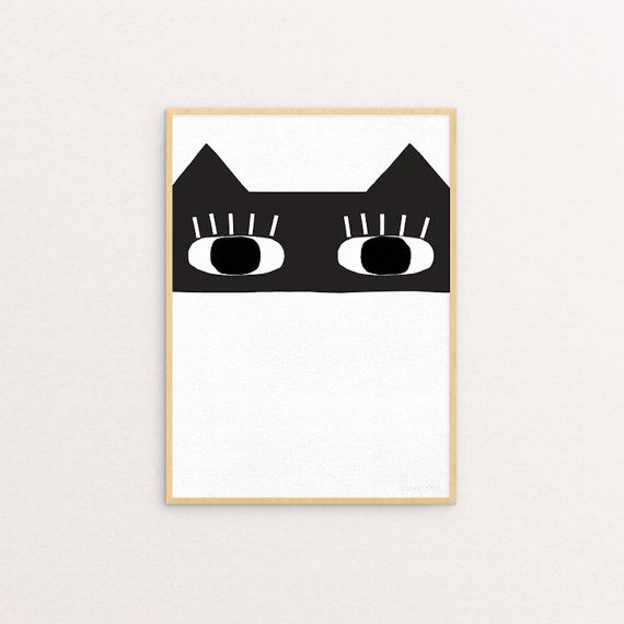Kids art, modern nursery art, minimalistic kids art, black and white kids artprint, Cat Bandit 30 x 40 Print