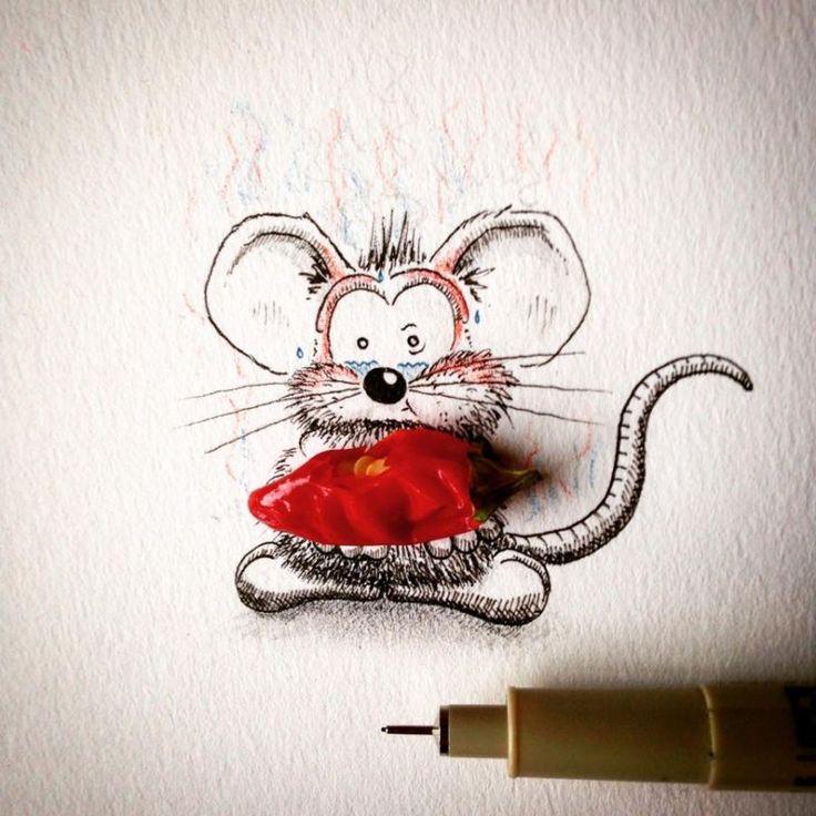 Открытки рождество, рисунок смешной мышки