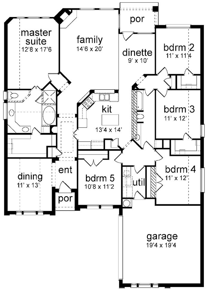 floor plan 5 bedrooms single story | Five Bedroom New American