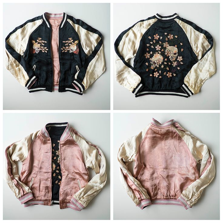 Japanese Souvenir Skull Punk Skeleton Sakura Cherry Blossoms Flowers Zen Simple Sukajan Flight Bomber Jacket - Japan Lover Me Store