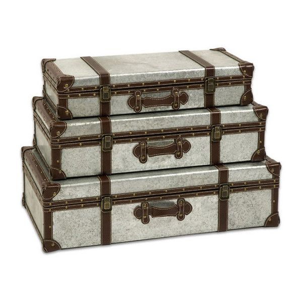 Dot & Bo Steely Stacking Trunks - Set of 3 ($269) ❤ liked on Polyvore featuring home, home decor, small item storage, metal basket, industrial home decor, industrial basket, chocolate basket and metal box