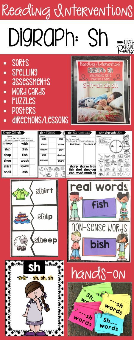 This binder is full of ideas for reading interventions, small group teaching or to use with your entire classroom of kindergarteners, first graders, or struggling second graders. It focuses on sh words. There are word sorts, writing, chants, word cards, games, pre & post assessments, directions and written ideas for lesson or interventions. Use some of these ideas in centers as well. Students will work hard to master the sh digraph. Everything is easily stored in a 1/2 inch binder.