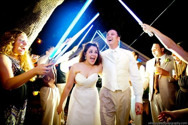 Wish I could have done this at my wedding, but a light saber battle would have quickly commenced...