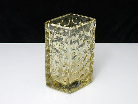 Vintage Bohemian Parallelogram Textured Amber Glass Vase by
