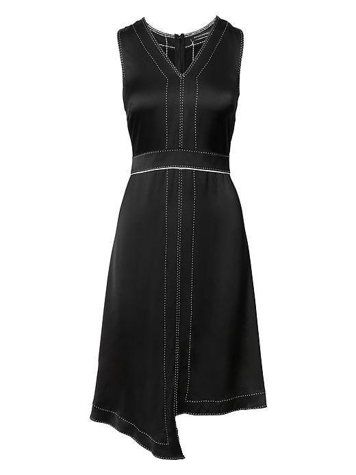 Banana Republic Womens Pick Stitch Asymmetrical Fit And Flare Dress