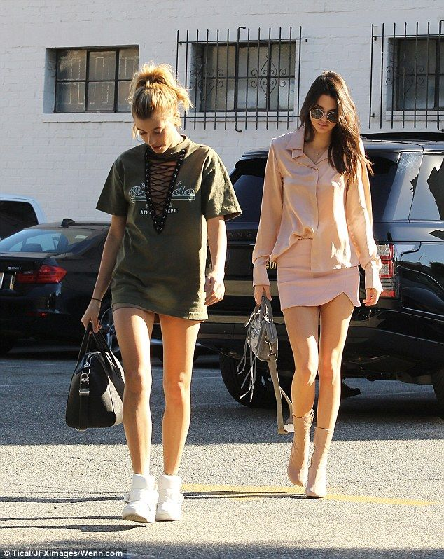 Kendall Jenner and pal Hailey Baldwin flash their long legs in equally short outfits as they hit up the jewelry store in Beverly Hills | Daily Mail Online