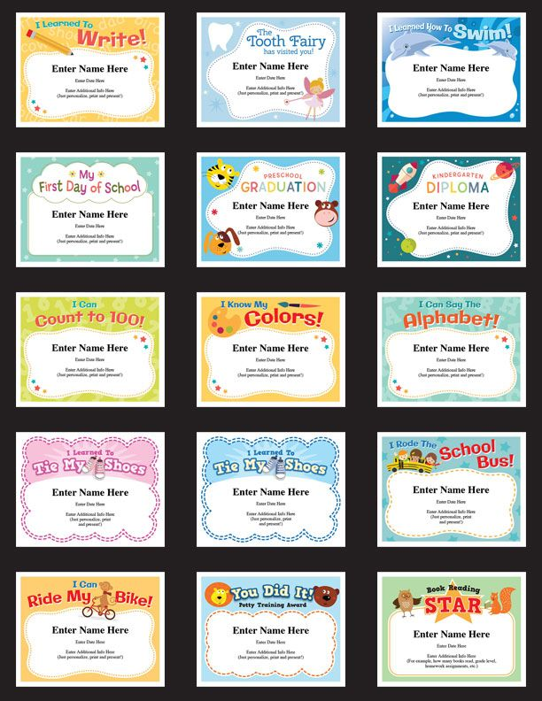From learning how to count, to a Tooth Fairy visit or even mastering riding a two-wheeler, we've developed a great looking certificate award for your children. Children Award Certificates to recognize milestones and achievement. Personalize by filling in text fields. Simple, and yet kids will treasure for a long time.