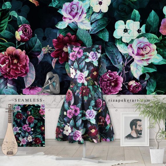 Secret Garden  Seamless  STOCK LICENSED by rizapekerart on Etsy #fashion #print #pattern