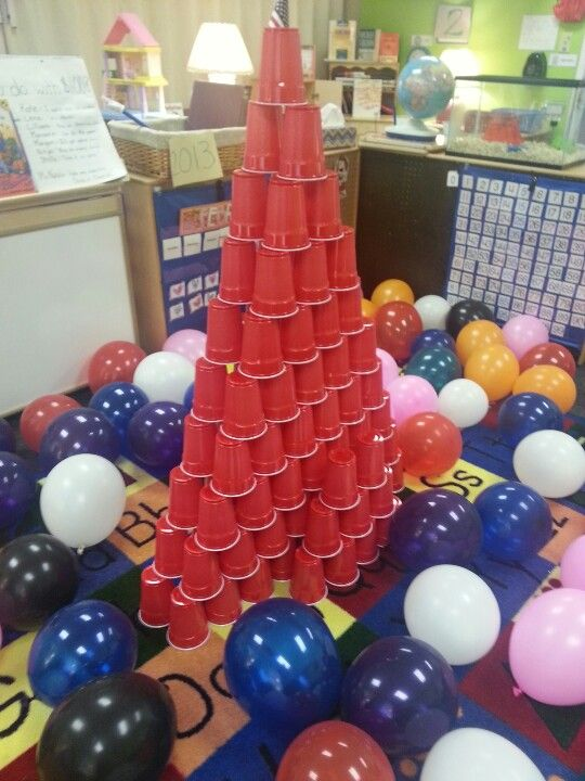 100 cup tower for 100th day of school. Great way to get kids working together!