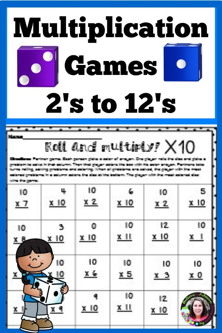 Multiplication Games 2 S To 12 S Math Lesson Plans Third