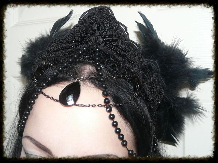 Black feather headdress that I made for a friend.