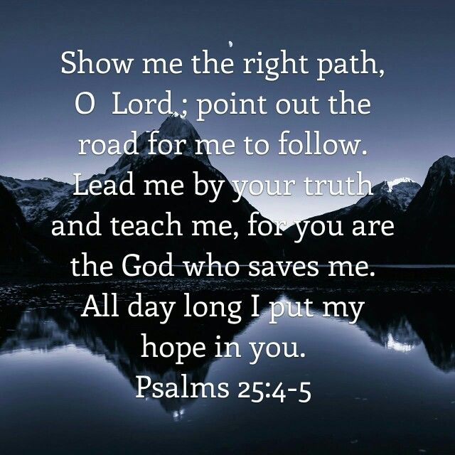 Show me the right path, O Lord; point out the road for me to follow. Lead me by your truth and teach me, for You are the God who saves me. All day long I put my hope in You. Psalm 25:4-5