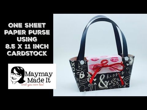 One Sheet of 8.5 by 11 Cardstock Paper Purse Valentine Treat Bag - YouTube