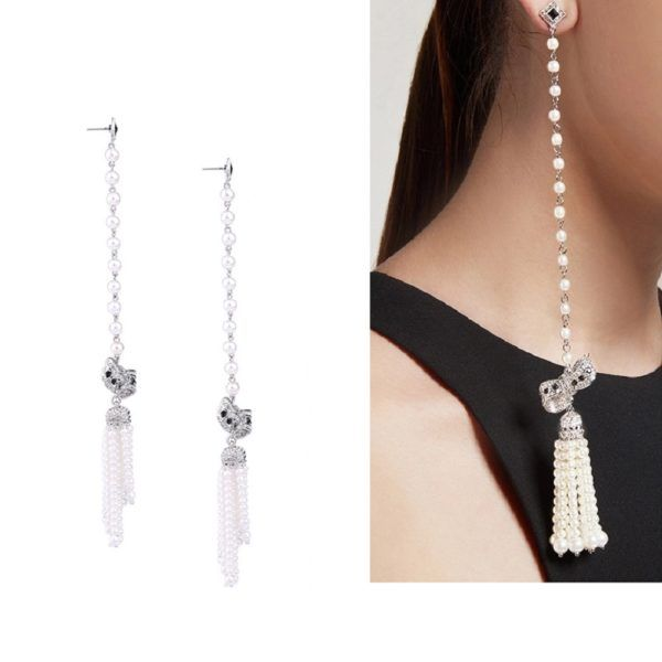 Simulated Pearls Chain Long Tassel Earrings With Crystal Bowknot