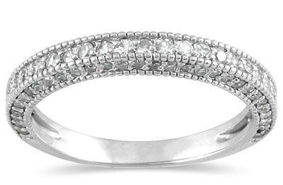 ApplesofGold.com - 3/4 Carat Antique-Style Diamond Wedding Band in 10K White Gold, $489!
