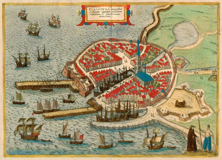 1593 map of the city of Vlissingen (Flushing) in the Netherlands #map #netherlands