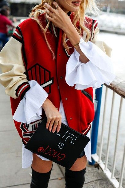 jacket tumblr red jacket baseball jacket teddy jacket bomber jacket bag pouch printed pouch customized quote on it shirt white shirt