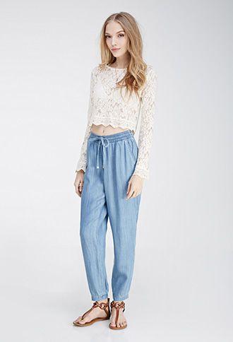 Luxury 2015 New Mens Denim Joggers Pants Drawstring Light Blue Harem Jeans